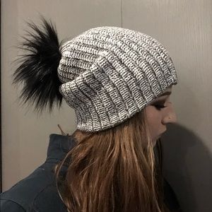 Love Your Melon Black Speckled Pom Style Beanie